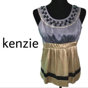 kenzie Anthropologie Silk Beaded Tank Empire Waist